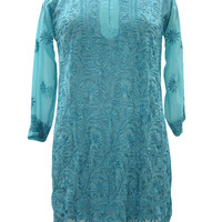 Blue Georgette Indian Embroidered Kurti Tunics Long Dress Tops S