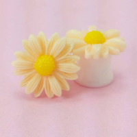 "SALE (20% OFF!) Buy 2 Pairs/get 3rd FREE! Elegant Cream Medium Sunflower Plugs/Gauges  4g, 2g, 0g, 00g, 1/2"", 9/16"", 5/8"", 11/16"", 3/4"""