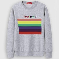 Supreme  Casual Simple Women Men Long Sleeve Shirt Top Tee