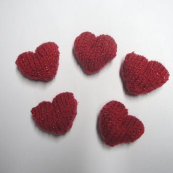 Handful of Hearts, Plush Amigurumi Hearts, Sweet Hearts, Set of 5 Knit Hearts, Cute Kawaii, Sparkly Red Glitter