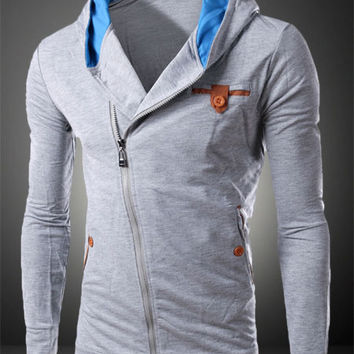 Elbow Patchwork Side-Zip Hoodie Shirt