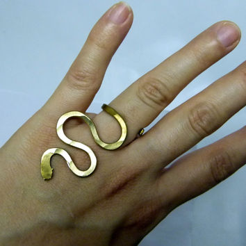 Nugold brass ring , adjustable , chunky simple hammered ring , golden ring , casual ring , art ring , modern ring