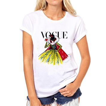 Brand Women T Shirt Tattoo Vogue Princess Print Tshirt Women Short Sleeve Casual Shirt For Lady Tops Tees Hipster T-shirt