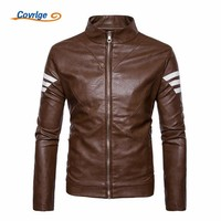 Covrlge 2018 New Arrival Men Leather Jacket Long Sleeve PU Leather Coat Motorcycle Leather Jackets Men Leather Jacket MWP023