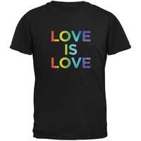 LGBT Gay Pride Love Is Love Black Adult T-Shirt