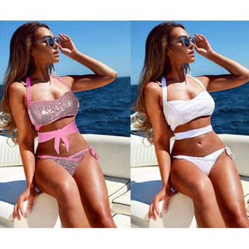 Summer Red White Padded Sequin Bikini Set Swimwear Women Bandage Strappy String Bikini Swimsuit Bathing Suit Women Thong Bikini