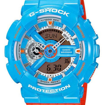 Casio Mens G-Shock - Analog-Digital - Blue 3-D Face - Orange Strap - 200M
