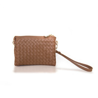New Adventures Weave Wristlet Handbag - Cognac Brown