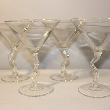 Set of 4 Clear Drunken Martini Glasses, Large Twisted Stem Barware
