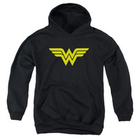 DC/WONDER WOMAN LOGO-YOUTH PULL-OVER HOODIE-BLACK