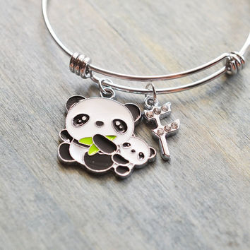 panda bracelet, panda bear jewelry, panda bangle, new mom gift, new parent gift, christmas, mom to be, baby shower, animal lover, fashion