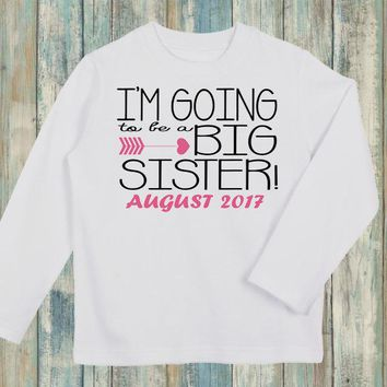 I'm Going To Be A Big Sister Announcement Personalized Long Sleeve Shirt-Personalized with ANY Name! Infant. Toddler. Girls Shirt. Sibling
