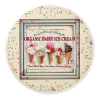 Vintage organic ice cream parlor sign ceramic knob