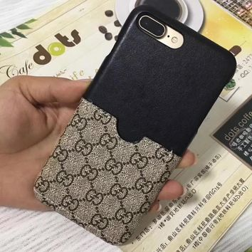 Gucci iphone 7plus phone shell leather card iPhone6 / 7/8 protective sleeve couple models