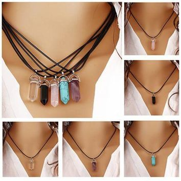 ESB78W Best Quality Best Quality Faux Rhinestone Rock Natural Quartz Healing Point Chakra Reiki Pendant Rope Necklace 5CQL