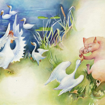 Piggy and Goose, original watercolor  illustration for children book, paper, not framed