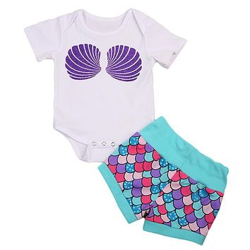 Newborn Toddler Mermaid Baby Girl Romper Top Pants Newborn Baby Girl Cotton Clothes New Arrival Outfits Clothes Set
