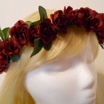 Flower Crown, Head Wreath, Weddings, Burgundy, Red, Rose, Flower Girl, Queen of Hearts, Costume, Headdress, Cosplay, Kawaii, Mori, Goth, Kei