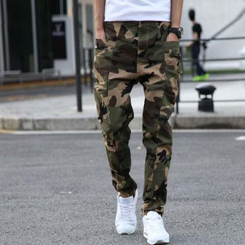 Fashion Army Green Stripped Harem Pants Cotton Jeans Men Drop Crotch Joggers Loose Elastic Tapered Jeans Long Trousers Plus Size