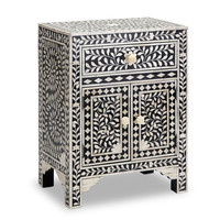 Black & Bone Inlay Bedside Table