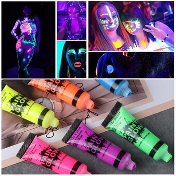 Body Paint Glow In The Dark Painting Peinture Phosphorescent Luminous Makeup Pigments Tattoo Zwarte Henna Color Festival TSLM2
