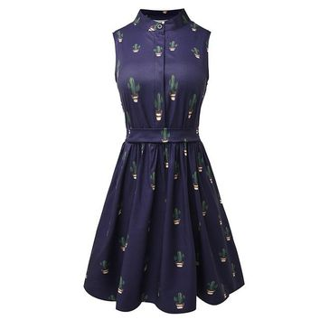 Sleeveless Cactus Prints Dress