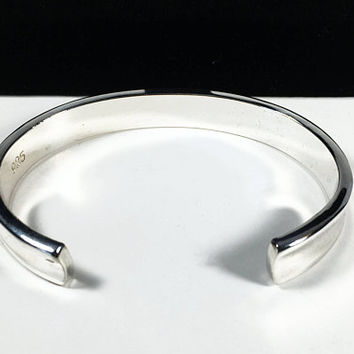 Sterling Silver Concave Cuff, Vintage Sterling Silver Cuff, Signed 925