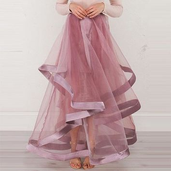 young 17 skirtasymmetrical pink see through patchwork sweet cute elegant skirt pink floor length skirt