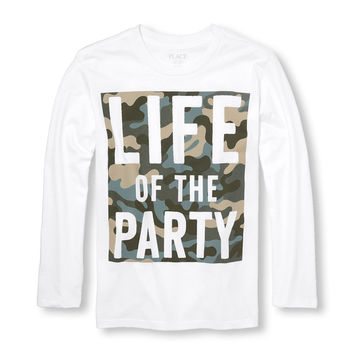 Boys Long Sleeve Camo 'Life Of The Party' Graphic Tee | The Children's Place