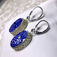 Broken China Jewelry Earrings, Willow Ware China, Transferware Silver Dangle Drop Earrings, Blue and White Vintage China, Gift for Her