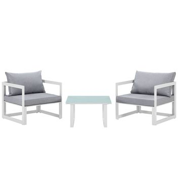 Fortuna 3 Piece Outdoor Patio Sectional Sofa Set White Gray EEI-1722-WHI-GRY-SE
