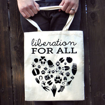 Vegan Animal Liberation Heart Organic Tote Bag - % of Sales Goes to Animals