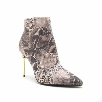 Showtime-01AX Beige Brown Snake Dressy Bootie