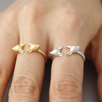 Bambee Face ring, Deer Adjustable animal Ring, deer face ring in Gold, Pink Gold, Silver color
