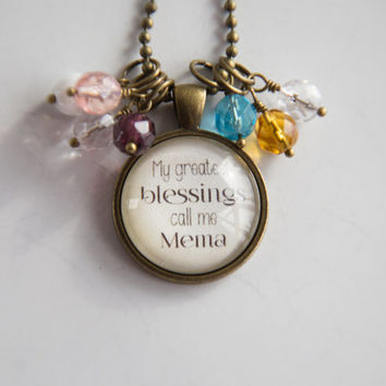 Mema's Pride Necklace - Blessed Necklace - Birthstone Jewelry - Greatest Blessings Inspirational Pendant - Text Jewelry Custom Necklace Name