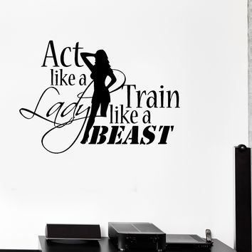 Quote motivation bodybuilding gym woman fitness wall stickers ig2717