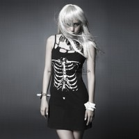 Punk Gothic Skeleton Mini Dress