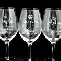 Custom Etched Diamond Design Bridal Party Wine Glasses Gift Sets - Bride Bridesmaid Maid of Honor