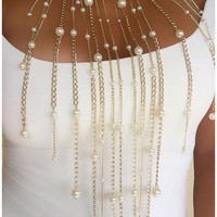 Pearl Fringe Long Chain Necklace/Earrings Set