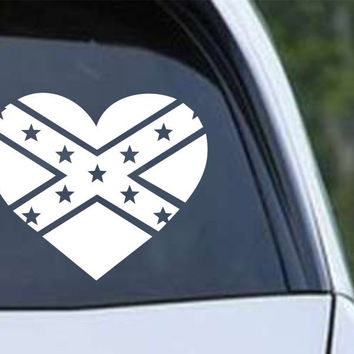 Dixie Heart Rebel Confederate Flag Vinyl Die Cut Decal Sticker