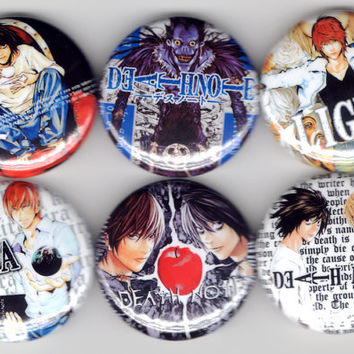 Death Note - Set of 6 - Light Raito Kira L Ryuk Shounen Manga Shounen Jump Buttons Pins Badges Pinback