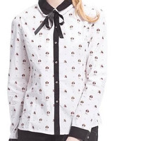 Dog Pattern Tie-Neck Long-Sleeve Collared Shirt