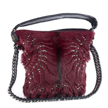 Roberto Cavalli Regina Medium Radiant Studded Red Leather Hair Hobo Bag