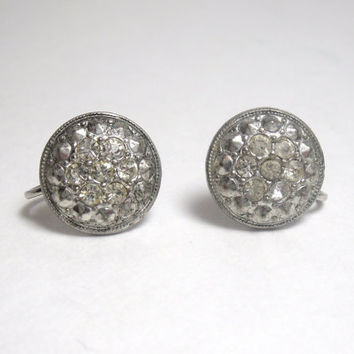 Vintage Silver Rhinestone Earrings screw back ladies costume jewelry
