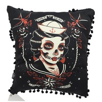 Liquorbrand Gothic Dark Seas Sailor skull lady tattoo Lounge Pillow
