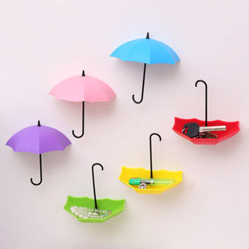 3PCs Creative Umbrella Shape Wall Mount Hook Key Holder Storage Stand Hanging Hooks For Bathroom Kitchen Door
