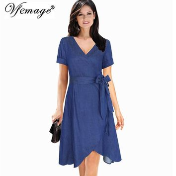 Vfemage Women Chic Elegant V-neck Bow Belt Denim Fashion Slim Work Casual Party Fit and Flare A-line Skater Wrap Dress 7876
