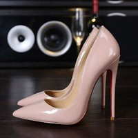 Top Quality Women Shoes  lady pumps High Heels Sexy Pointed Toe Wedding Shoes nude black heels Chaussure Escarpins Semelle Rouge