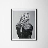 Kate Moss Smoking Poster, Wall Art, Digital Download, Black and White, 300dpi