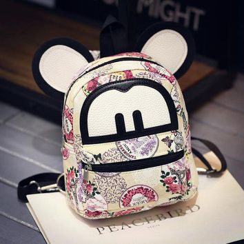 Mice Casual PU Leather Printed Backpack